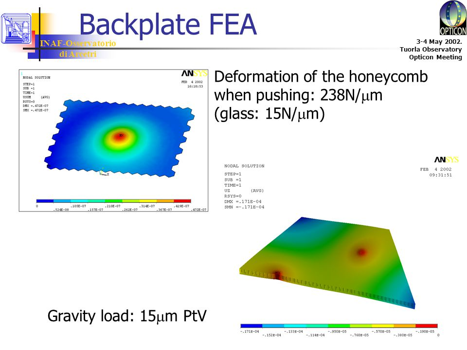 INAF-Osservatorio di Arcetri 3-4 May 2002. Tuorla Observatory Opticon Meeting Backplate FEA Deformation of the honeycomb when pushing: 238N/  m (glas