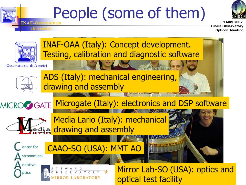 INAF-Osservatorio di Arcetri 3-4 May 2002. Tuorla Observatory Opticon Meeting People (some of them) Osservatorio di Arcetri INAF-OAA (Italy): Concept