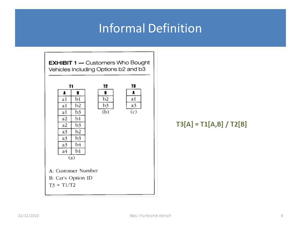Informal Definition 21/11/2010Bazy i hurtownie danych T3[A] = T1[A,B] / T2[B] 6