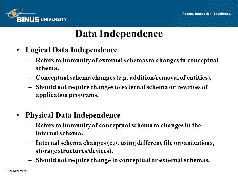 Bina Nusantara Data Independence Logical Data Independence –Refers to immunity of external schemas to changes in conceptual schema.
