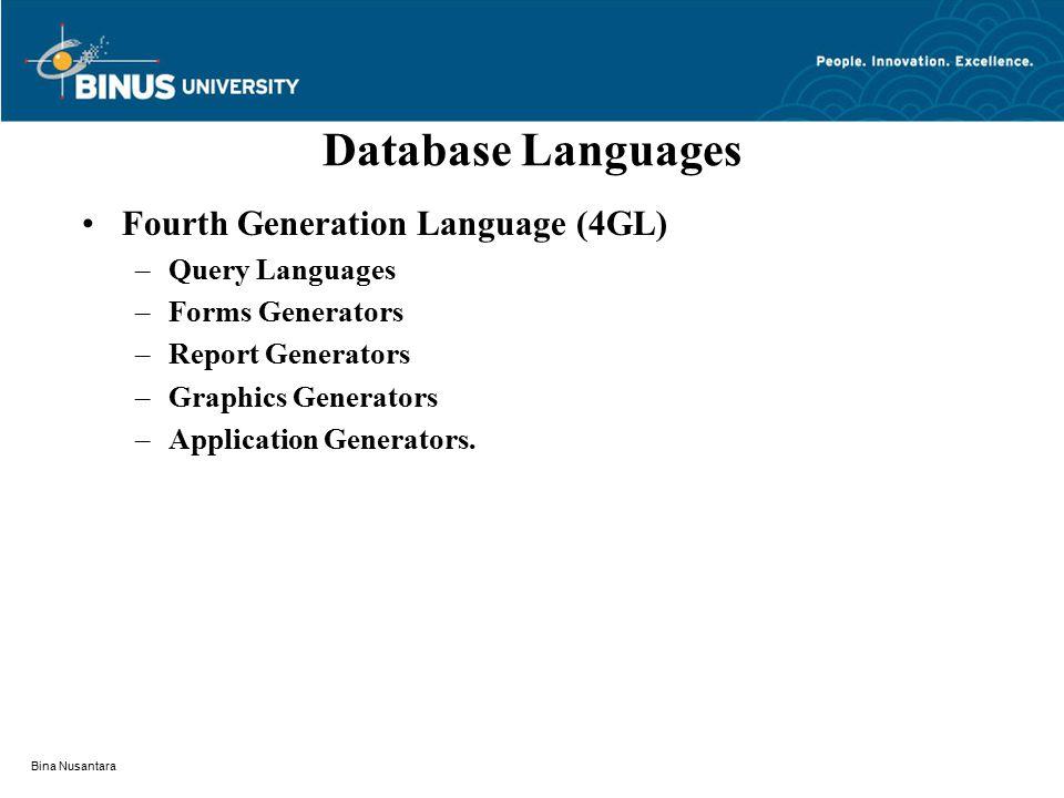 Bina Nusantara Database Languages Fourth Generation Language (4GL) –Query Languages –Forms Generators –Report Generators –Graphics Generators –Applica