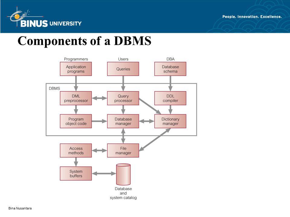 Bina Nusantara Components of a DBMS