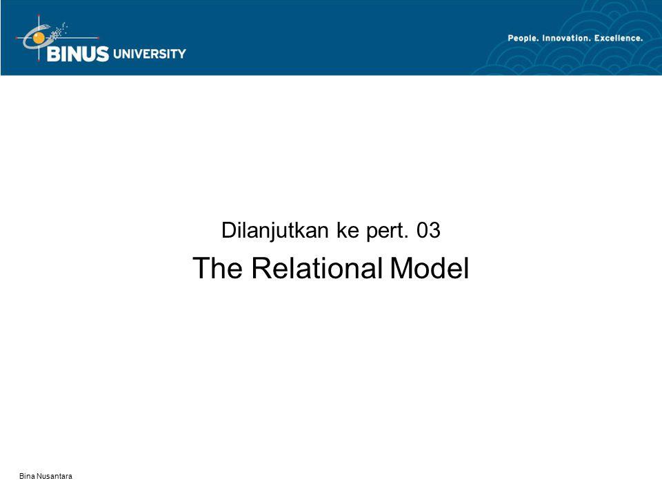 Bina Nusantara Dilanjutkan ke pert. 03 The Relational Model