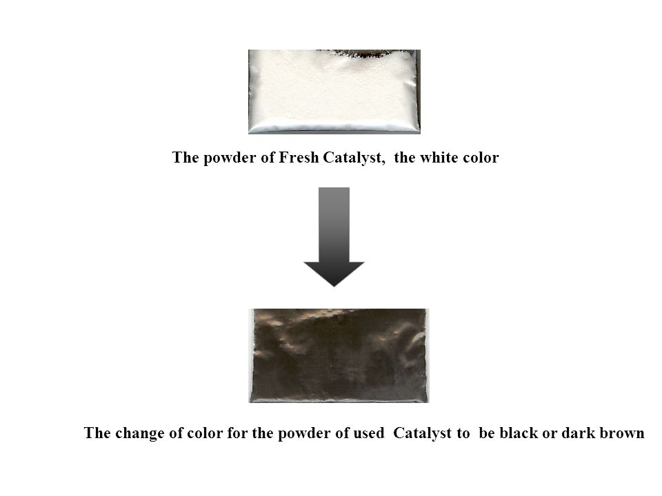 The powder of Fresh Catalyst, the white color The change of color for the powder of used Catalyst to be black or dark brown