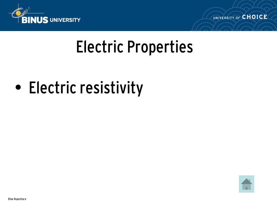 Bina Nusantara Electric Properties Electric resistivity