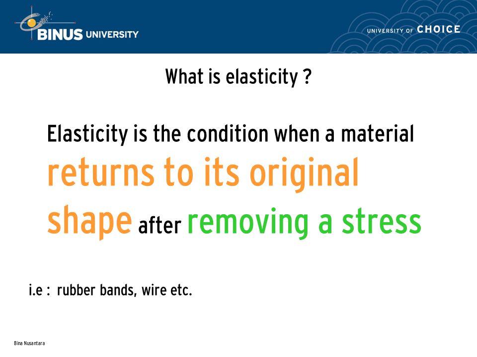 Bina Nusantara What is elasticity .