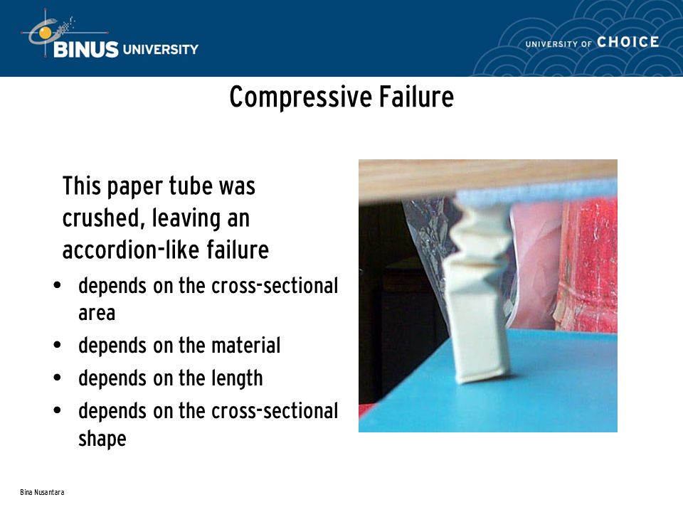 Bina Nusantara Compressive Failure This paper tube was crushed, leaving an accordion-like failure depends on the cross-sectional area depends on the material depends on the length depends on the cross-sectional shape