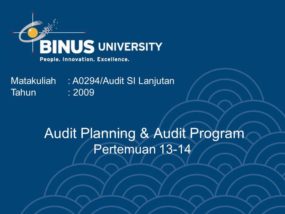 Audit Planning & Audit Program Pertemuan 13-14 Matakuliah: A0294/Audit SI Lanjutan Tahun: 2009