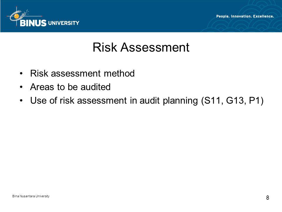 Bina Nusantara University 8 Risk Assessment Risk assessment method Areas to be audited Use of risk assessment in audit planning (S11, G13, P1)