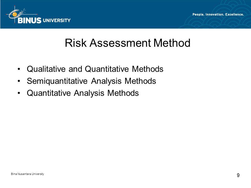 Bina Nusantara University 9 Risk Assessment Method Qualitative and Quantitative Methods Semiquantitative Analysis Methods Quantitative Analysis Method