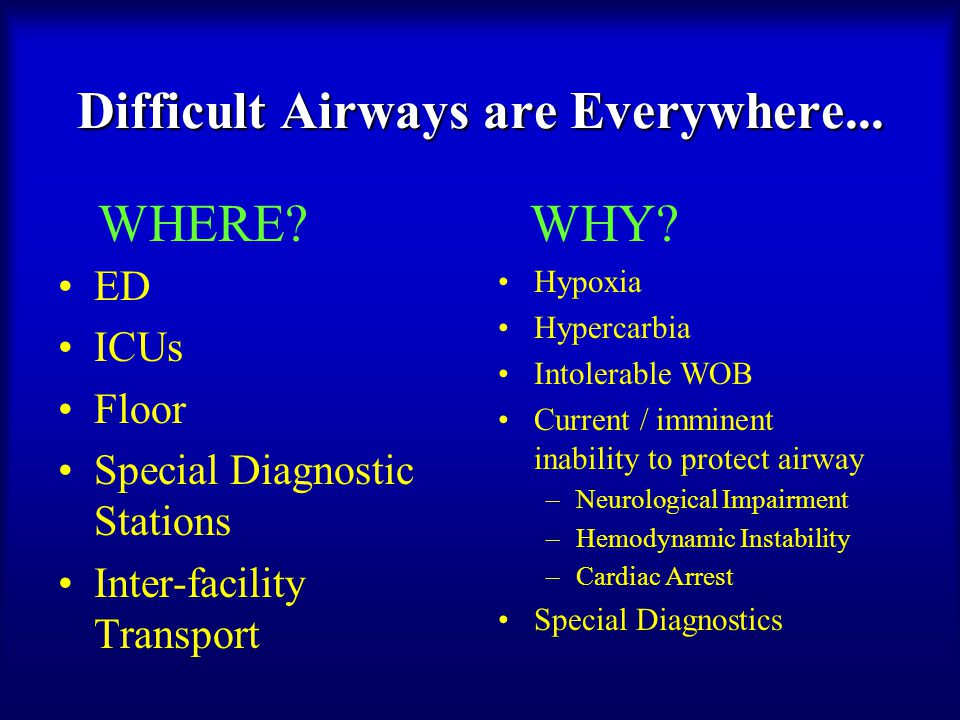 ED ICUs Floor Special Diagnostic Stations Inter-facility Transport Hypoxia Hypercarbia Intolerable WOB Current / imminent inability to protect airway –Neurological Impairment –Hemodynamic Instability –Cardiac Arrest Special Diagnostics Difficult Airways are Everywhere...