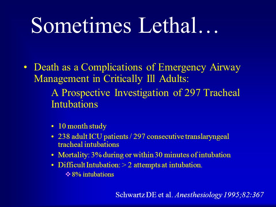 Levitan RM Ann Em Med 2004; 44: 307-313 Overall intubation success, patient conditions permitting physiognomic airway assessments, and rapid sequence intubation failures.