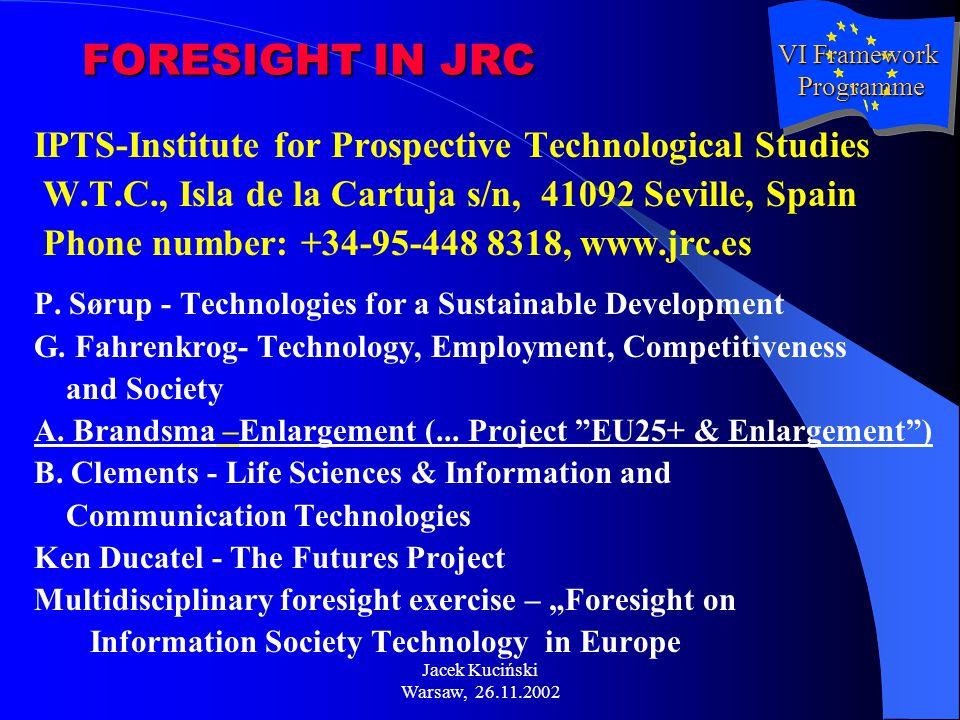 Jacek Kuciński Warsaw, 26.11.2002 FORESIGHT IN JRC IPTS-Institute for Prospective Technological Studies W.T.C., Isla de la Cartuja s/n, 41092 Seville, Spain Phone number: +34-95-448 8318, www.jrc.es P.