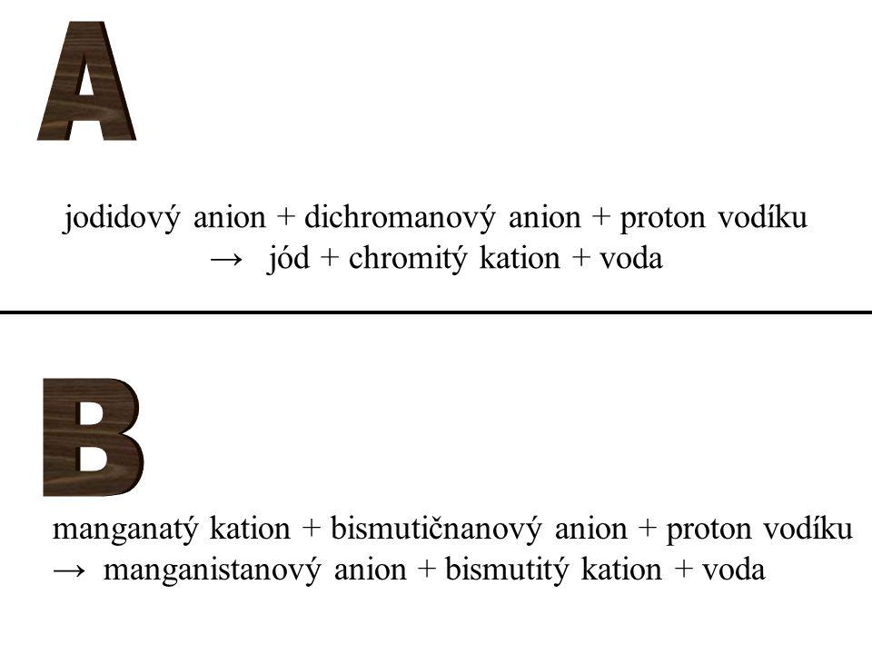 jodidový anion + dichromanový anion + proton vodíku → jód + chromitý kation + voda manganatý kation + bismutičnanový anion + proton vodíku → manganistanový anion + bismutitý kation + voda