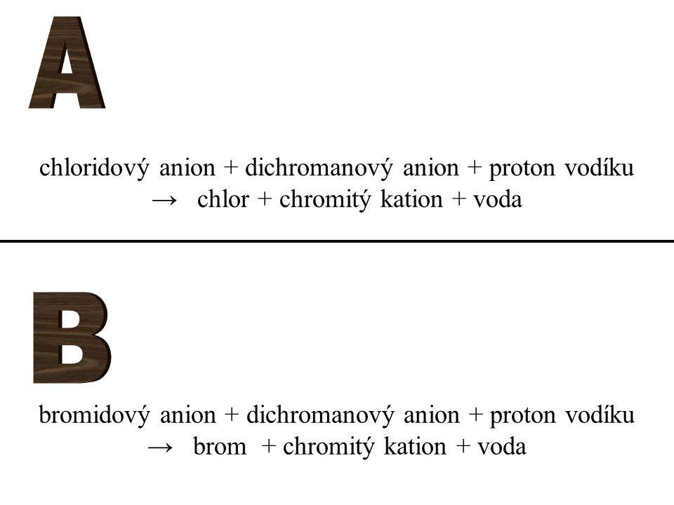 bromidový anion + dichromanový anion + proton vodíku → brom + chromitý kation + voda chloridový anion + dichromanový anion + proton vodíku → chlor + c