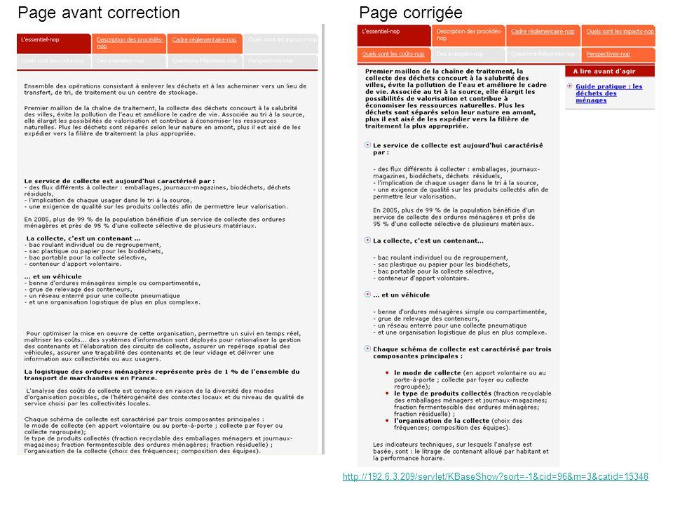 Page avant correctionPage corrigée http://192.6.3.209/servlet/KBaseShow sort=-1&cid=96&m=3&catid=15348