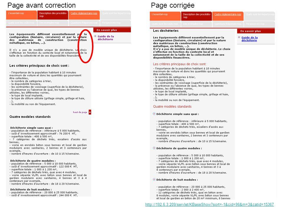 Page avant correctionPage corrigée http://192.6.3.209/servlet/KBaseShow sort=-1&cid=96&m=3&catid=15367