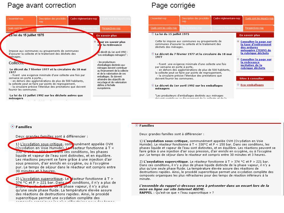 Page avant correctionPage corrigée