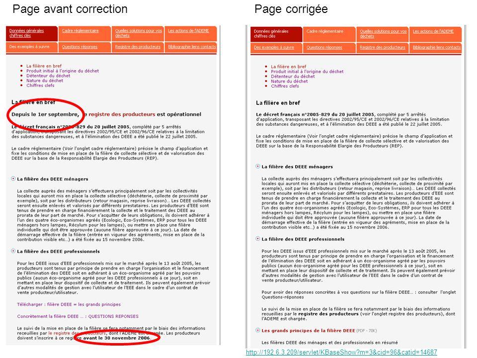 Page avant correctionPage corrigée http://192.6.3.209/servlet/KBaseShow m=3&cid=96&catid=14687