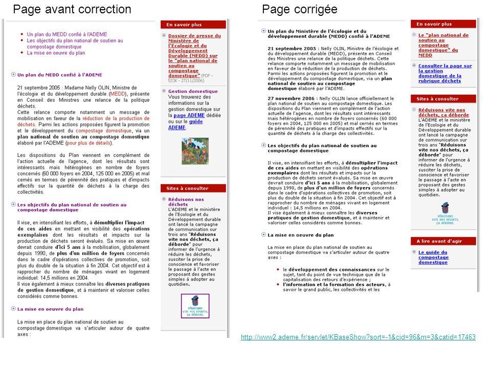 Page avant correctionPage corrigée http://www2.ademe.fr/servlet/KBaseShow sort=-1&cid=96&m=3&catid=17463