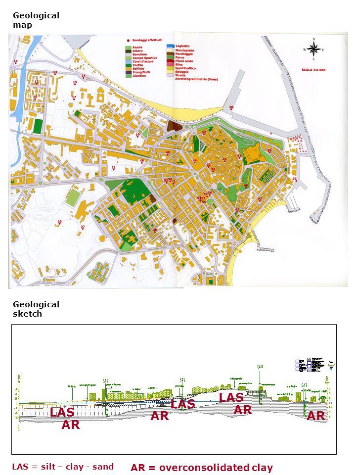 Geological map LAS AR LAS AR Geological sketch AR = overconsolidated clay LAS = silt – clay - sand