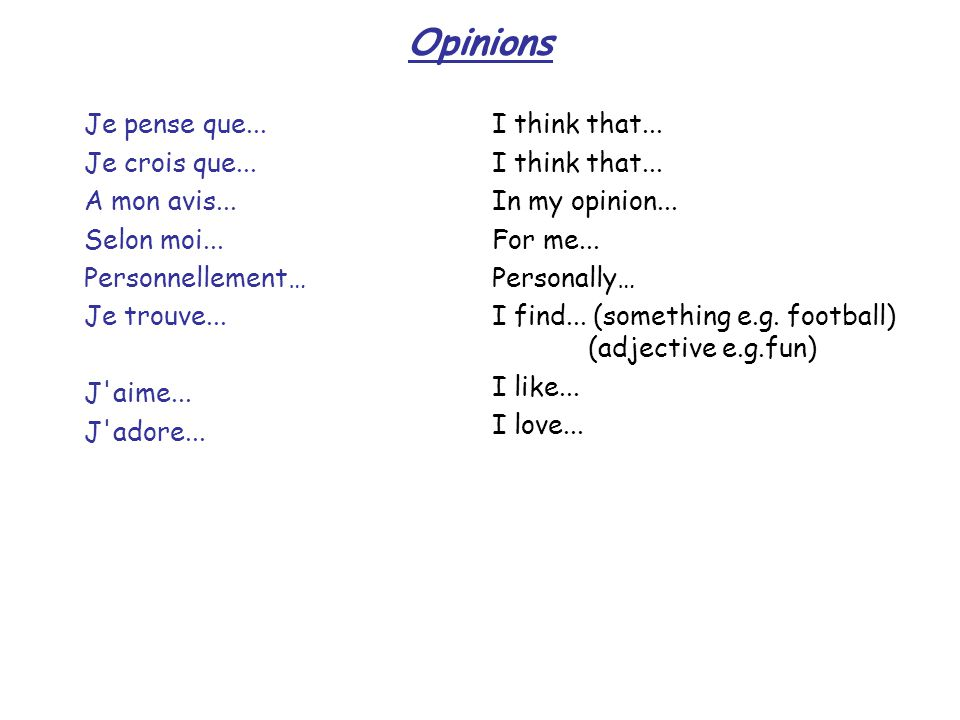 Superlatives and Comparatives (1) Comparatives are used to compare people or things: plus..(que)… - more…(than ) moins..(que)…- less…(than) aussi..(que)…- just as…(as) e.g Marie est plus grande que Sofie – Marie is taller than Sofie Superlatives are used to say that someone / something is the best, tallest etc le/la plus…- the most… e.g.