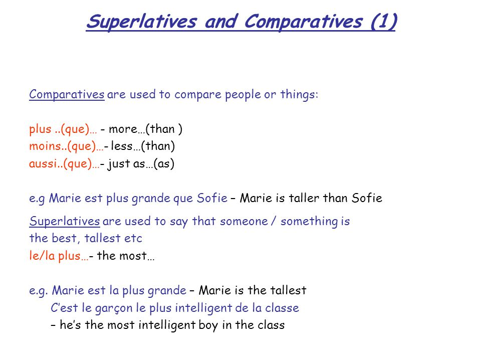 Adverbs: describing verbs Short adverbs that modify a verb usually follow the conjugated verb e.g Nous mangeons bien- we eat well Nous avons bien mangé - we ate well Adverbs of frequency are usually placed after the verb e.g Je fais toujours mes devoirs - I always do my homework Adverbs of time which refer to specific days can be placed at the beginning or end of the sentence e.g Aujourd hui, je vais acheter une voiture - Today I am going to buy a car Elles arriveront demain - They'll arrive tomorrow Long adverbs are usually placed at the beginning or end of the sentence e.g.