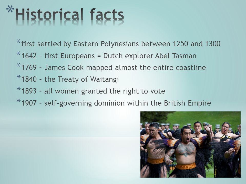 * first settled by Eastern Polynesians between 1250 and 1300 * 1642 – first Europeans = Dutch explorer Abel Tasman * 1769 – James Cook mapped almost the entire coastline * 1840 – the Treaty of Waitangi * 1893 – all women granted the right to vote * 1907 – self-governing dominion within the British Empire