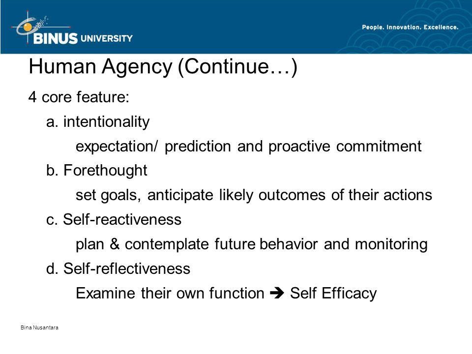 Bina Nusantara Human Agency (Continue…) 4 core feature: a.