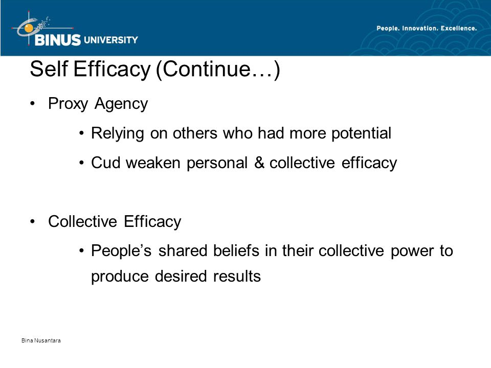 Bina Nusantara Self Efficacy (Continue…) Proxy Agency Relying on others who had more potential Cud weaken personal & collective efficacy Collective Ef