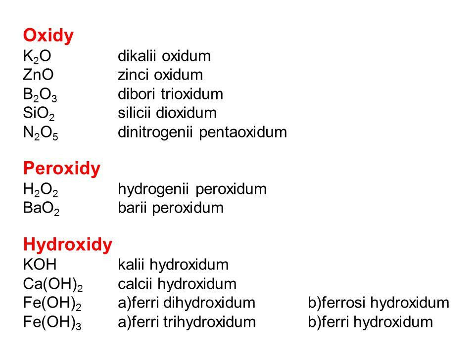 Oxidy K 2 Odikalii oxidum ZnOzinci oxidum B 2 O 3 dibori trioxidum SiO 2 silicii dioxidum N 2 O 5 dinitrogenii pentaoxidum Peroxidy H 2 O 2 hydrogenii peroxidum BaO 2 barii peroxidum Hydroxidy KOHkalii hydroxidum Ca(OH) 2 calcii hydroxidum Fe(OH) 2 a)ferri dihydroxidum b)ferrosi hydroxidum Fe(OH) 3 a)ferri trihydroxidumb)ferri hydroxidum
