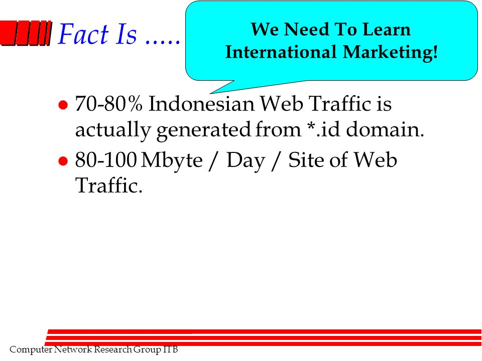 Computer Network Research Group ITB Fact Is..... l 70-80% Indonesian Web Traffic is actually generated from *.id domain. l 80-100 Mbyte / Day / Site o