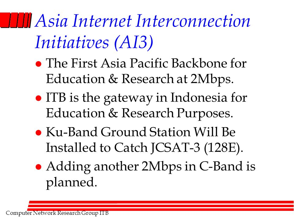 Computer Network Research Group ITB Asia Internet Interconnection Initiatives (AI3) l The First Asia Pacific Backbone for Education & Research at 2Mbps.