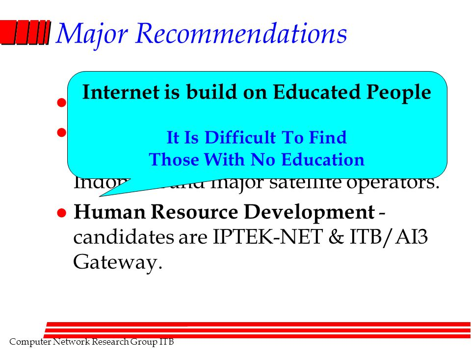 Computer Network Research Group ITB Major Recommendations l Internet Exchange.