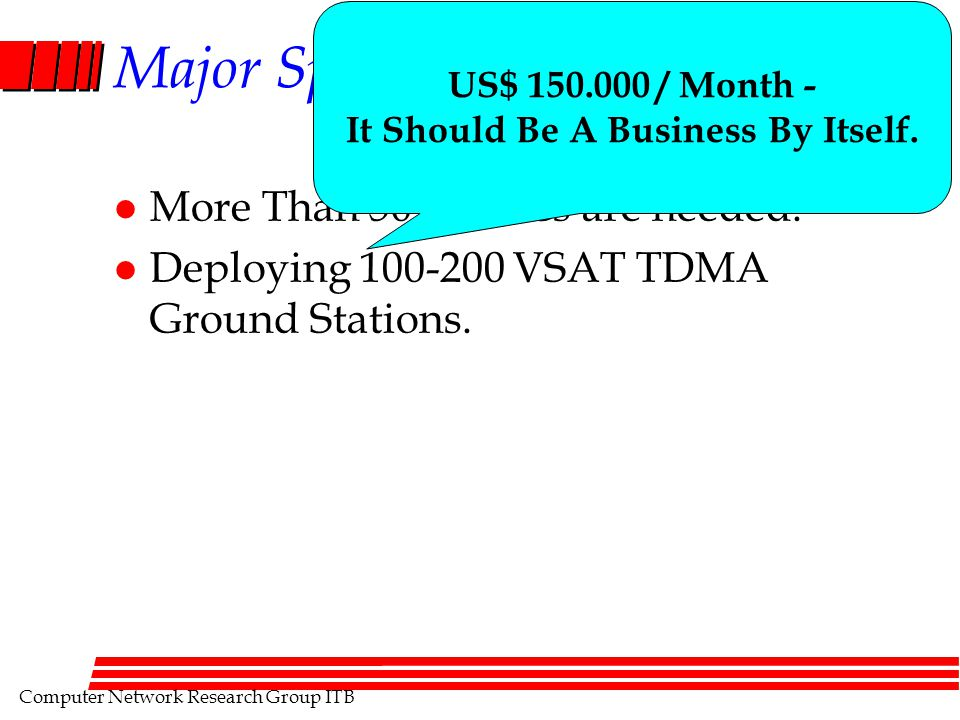Computer Network Research Group ITB Major Spin Off l More Than 50,000 PCs are needed. l Deploying 100-200 VSAT TDMA Ground Stations. US$ 150.000 / Mon