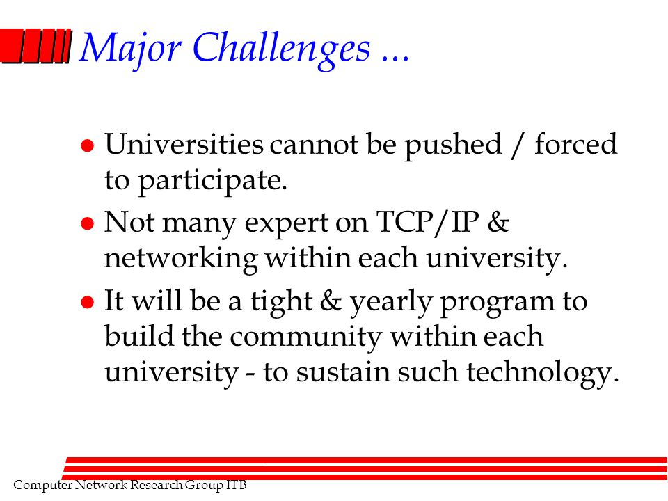 Computer Network Research Group ITB Major Challenges... l Universities cannot be pushed / forced to participate. l Not many expert on TCP/IP & network