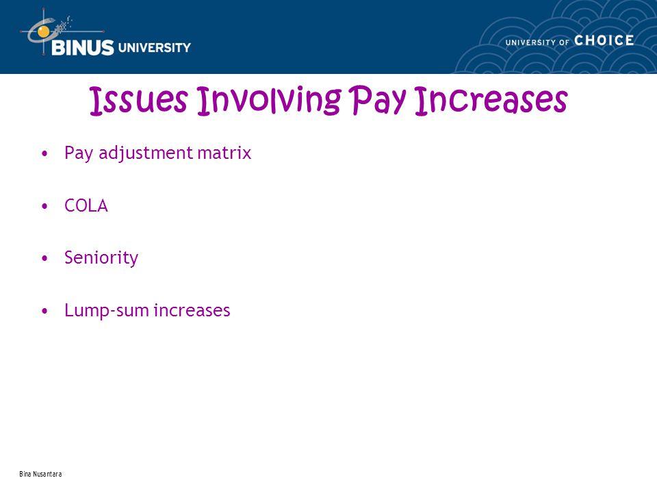 Bina Nusantara Issues Involving Pay Increases Pay adjustment matrix COLA Seniority Lump-sum increases