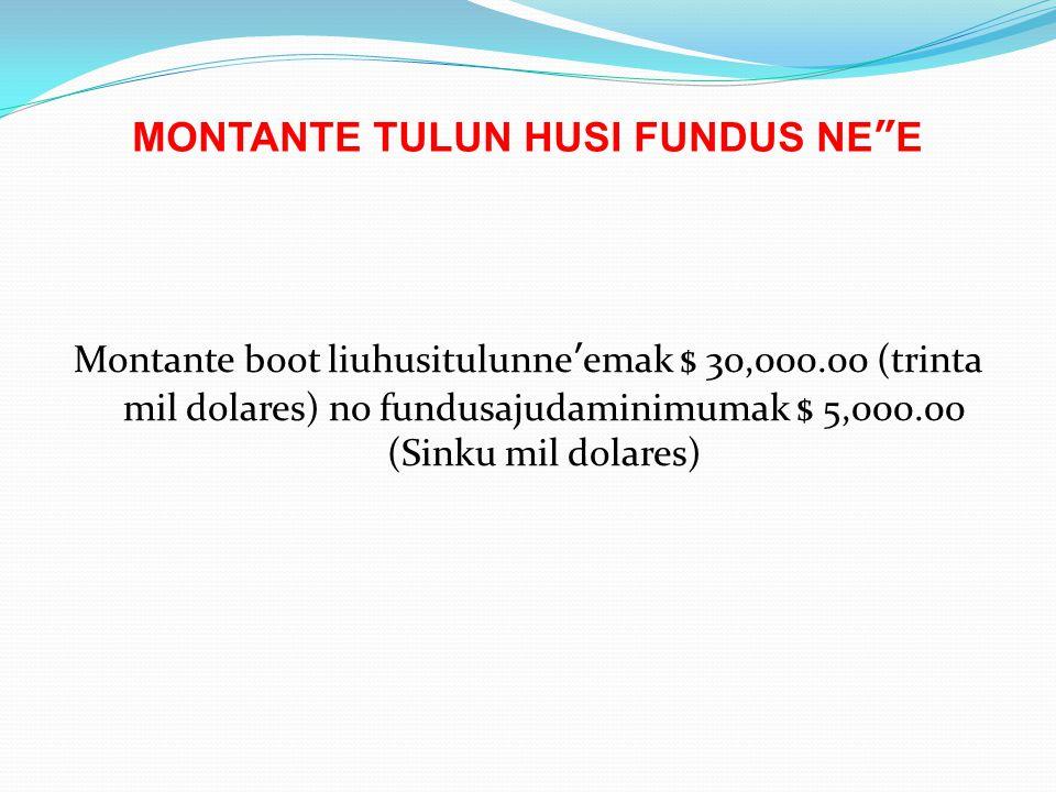 "MONTANTE TULUN HUSI FUNDUS NE""E Montante boot liuhusitulunne'emak $ 30,000.00 (trinta mil dolares) no fundusajudaminimumak $ 5,000.00 (Sinku mil dolar"