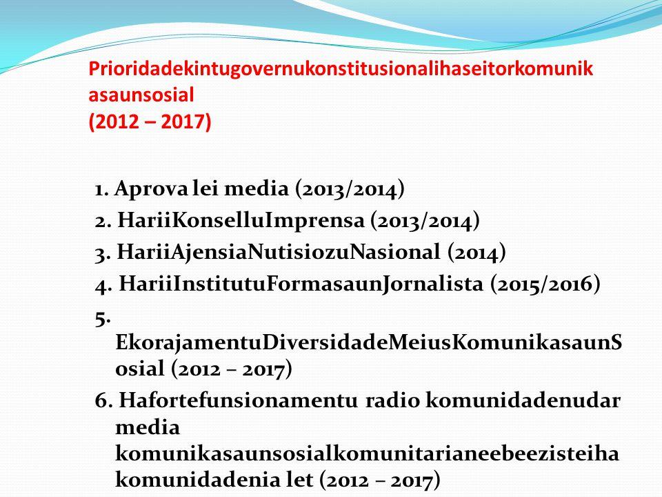 Prioridadekintugovernukonstitusionalihaseitorkomunik asaunsosial (2012 – 2017) 1. Aprova lei media (2013/2014) 2. HariiKonselluImprensa (2013/2014) 3.