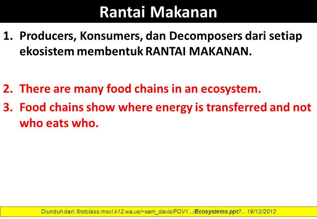 Rantai Makanan 1.Producers, Konsumers, dan Decomposers dari setiap ekosistem membentuk RANTAI MAKANAN.