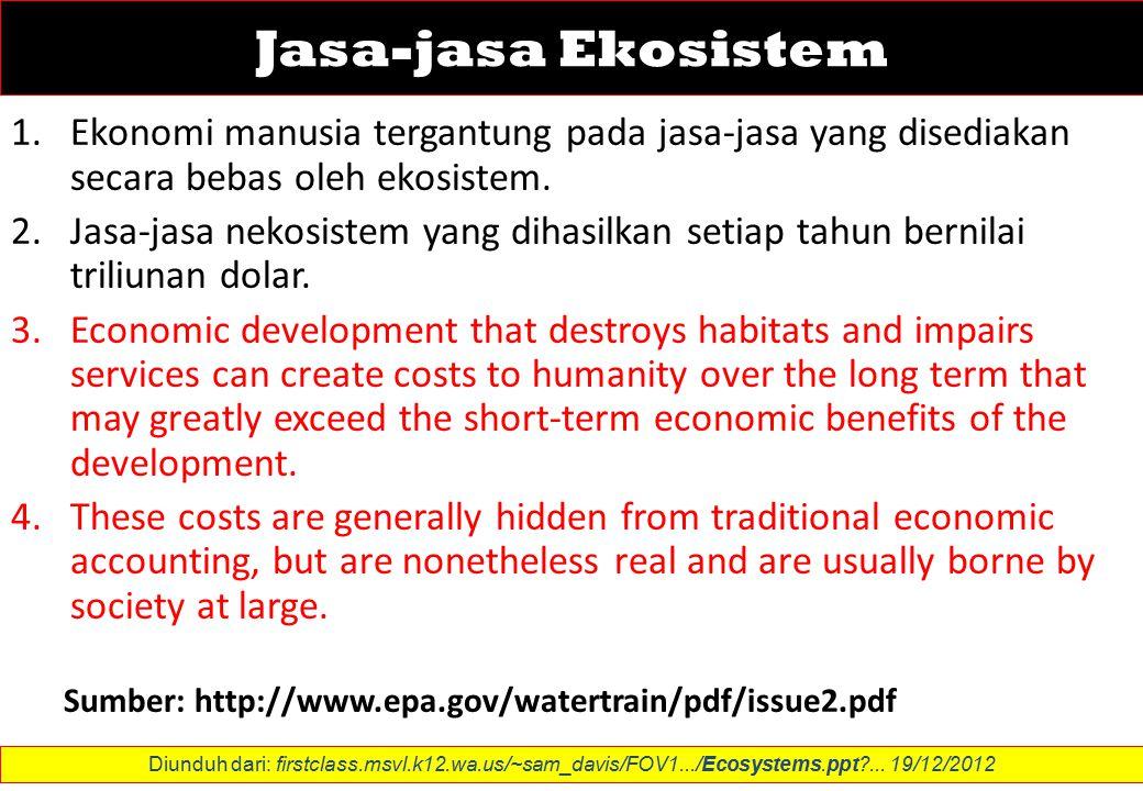 Jasa-jasa Ekosistem 1.Ekonomi manusia tergantung pada jasa-jasa yang disediakan secara bebas oleh ekosistem.