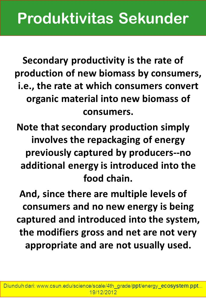 Secondary productivity is the rate of production of new biomass by consumers, i.e., the rate at which consumers convert organic material into new biomass of consumers.