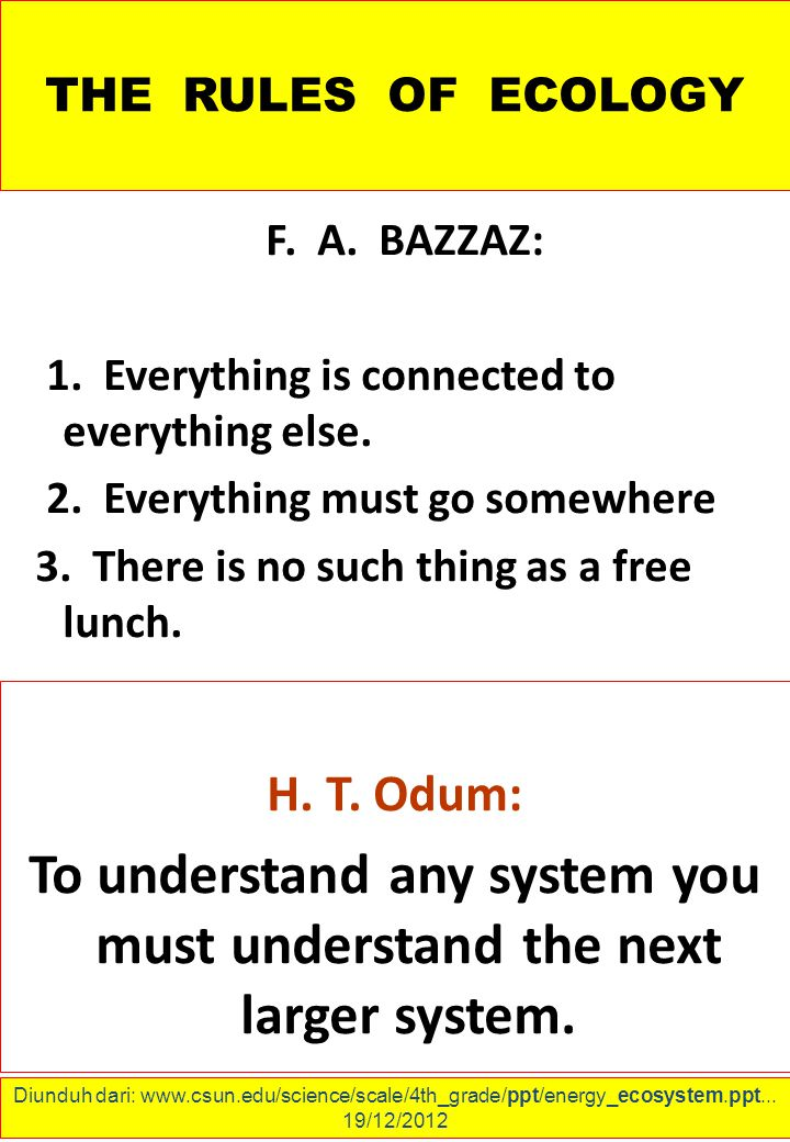 THE RULES OF ECOLOGY F.A. BAZZAZ: 1. Everything is connected to everything else.