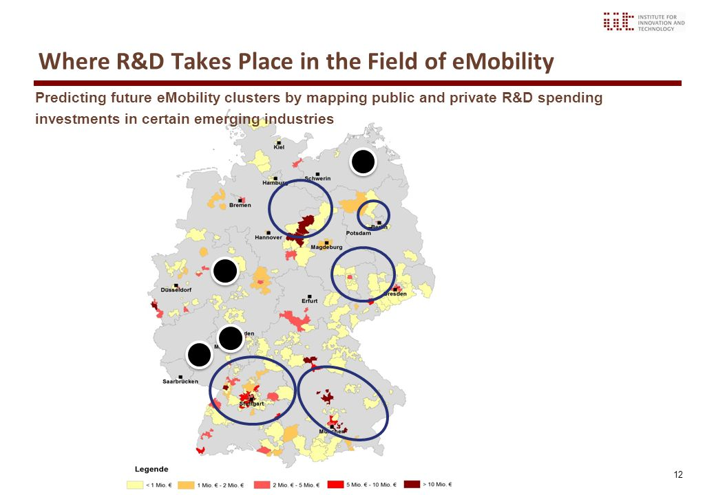 12 Where R&D Takes Place in the Field of eMobility Predicting future eMobility clusters by mapping public and private R&D spending investments in certain emerging industries