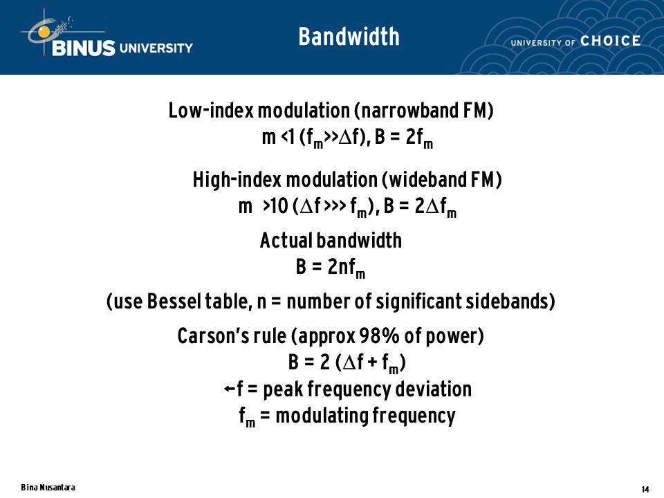 Bina Nusantara 14 Bandwidth Low-index modulation (narrowband FM) m >  f), B = 2f m High-index modulation (wideband FM) m >10 (  f >>> f m ), B = 2  f m Actual bandwidth B = 2nf m (use Bessel table, n = number of significant sidebands) Carson's rule (approx 98% of power) B = 2 (  f + f m ) Δf = peak frequency deviation f m = modulating frequency