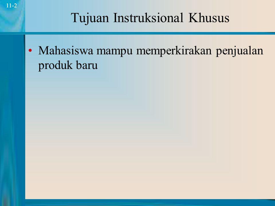 2 11-2 Tujuan Instruksional Khusus Mahasiswa mampu memperkirakan penjualan produk baru