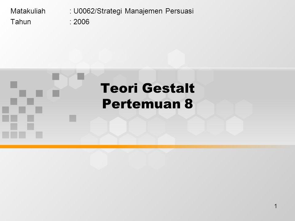 1 Teori Gestalt Pertemuan 8 Matakuliah: U0062/Strategi Manajemen Persuasi Tahun: 2006