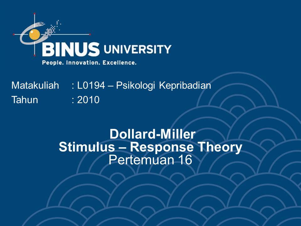 Dollard-Miller Stimulus – Response Theory Pertemuan 16 Matakuliah: L0194 – Psikologi Kepribadian Tahun: 2010