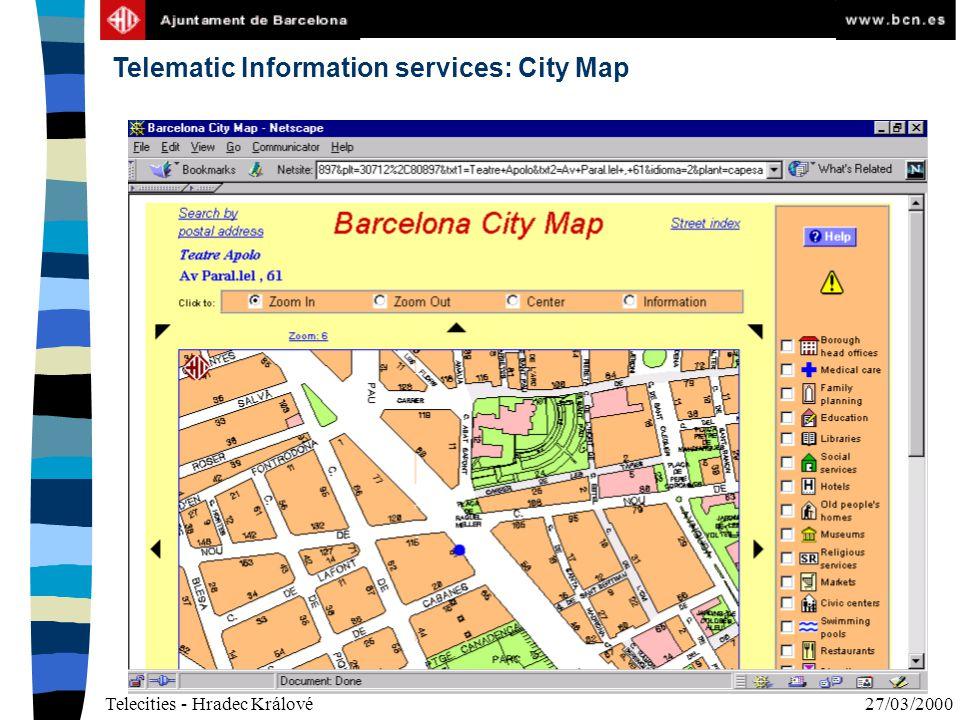 Telecities - Hradec Králové27/03/2000 Telematic Information services: City Map