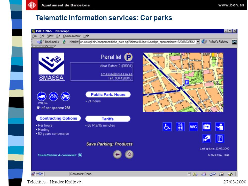 Telecities - Hradec Králové27/03/2000 Telematic Information services: Car parks